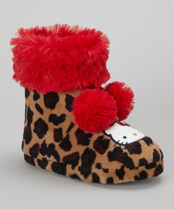 Brown & Red Leopard Hello Kitty Boot Slipper - Kids