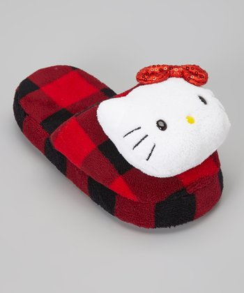 Red Plaid Hello Kitty Slipper - Kids