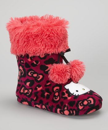 Pink & Black Leopard Hello Kitty Boot Slipper - Women