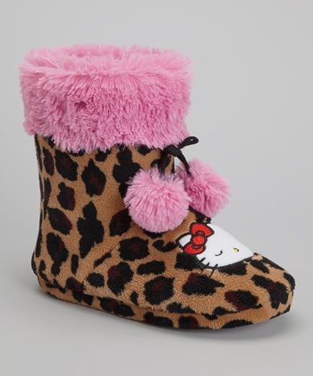 Pink & Tan Leopard hello Kitty Boot Slipper – Women