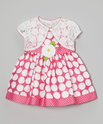 Pink & White Polka Dot Flower Dress & Shrug - Toddler