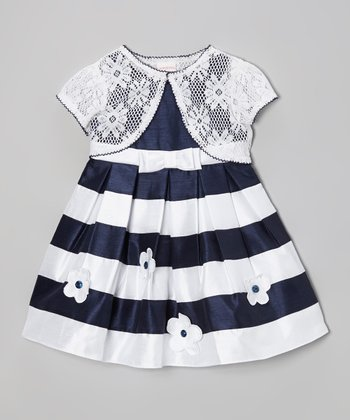 Navy & White Stripe Floral Dress & Shrug - Girls