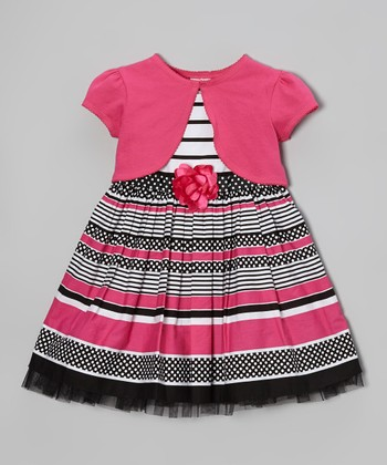 Pink & Black Stripe Flower Dress & Shrug - Toddler & Girls
