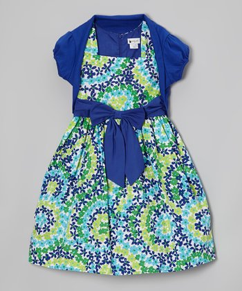 Indigo & Green Floral Swirl Dress & Shrug - Girls