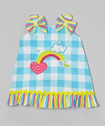 Blue Gingham Rainbow Heart Swing Dress - Infant, Toddler & Girls