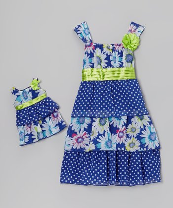 Blue Floral & Polka Dot Dress & Doll Dress - Girls