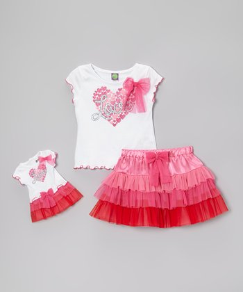 Pink & White Skirt Set & Doll Outfit - Girls