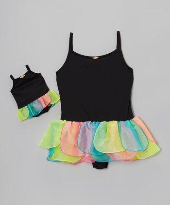Black & Rainbow Skirted Leotard & Doll Leotard - Girls