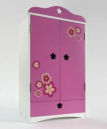 Pink & White Flower Doll Armoire