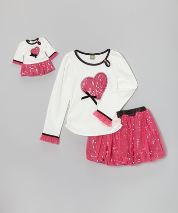 White & Fuchsia Bubble Skirt Set & Doll Outfit - Girls