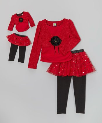 Red Skirted Leggings Set & Doll Outfit - Girls
