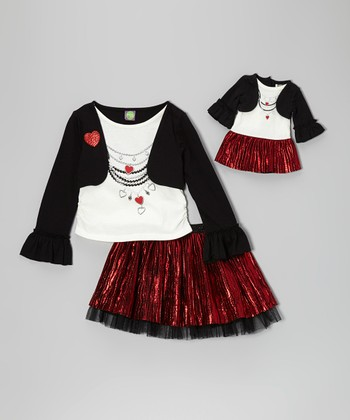 Red & Ivory Skirt Set & Doll Outfit - Girls