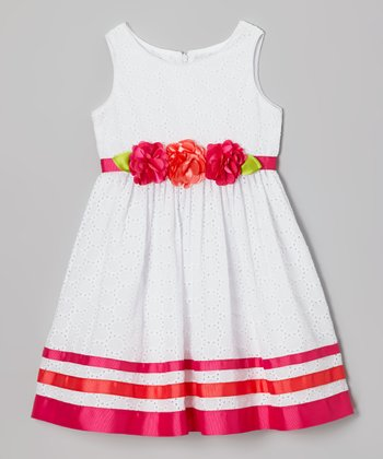 White Ribbon Eyelet Dress - Toddler & Girls