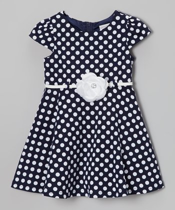 Navy Polka Dot Cap-Sleeve Dress - Toddler & Girls