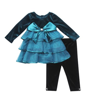 Teal Velvet Tiered Ruffle Tunic & Leggings - Infant