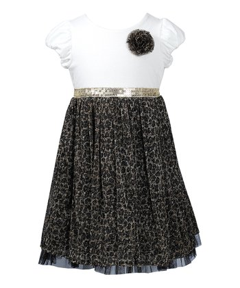 Ivory & Black Cheetah Dress - Toddler & Girls