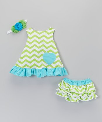 Turquoise & Lime Green Zigzag Swing Top Set - Infant & Toddler