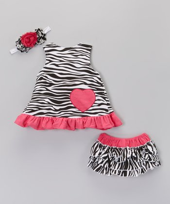 Hot Pink & Black Zebra Bodysuit & Headband - Infant & Toddler
