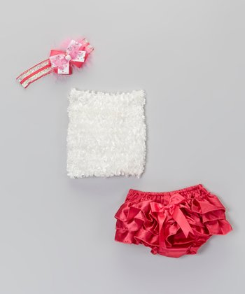 Hot Pink Bow Ruffle Bloomers Set