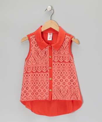 Coral Vintage Button-Up Top