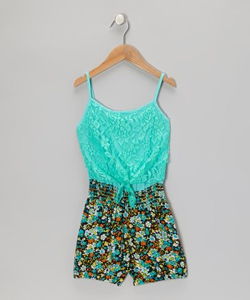 Mint Lace Flower Romper