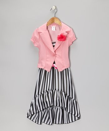 Black & Pink Stripe Dress Set