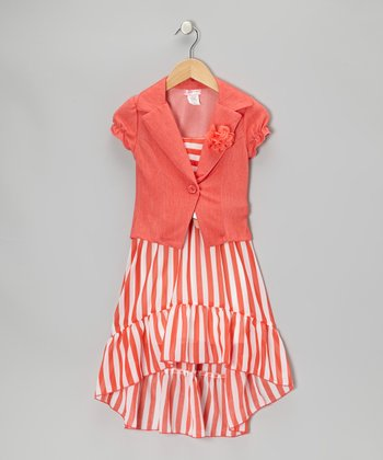 Coral Stripe Dress Set