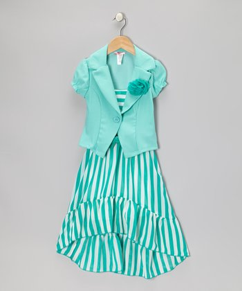 Mint Stripe Dress Set