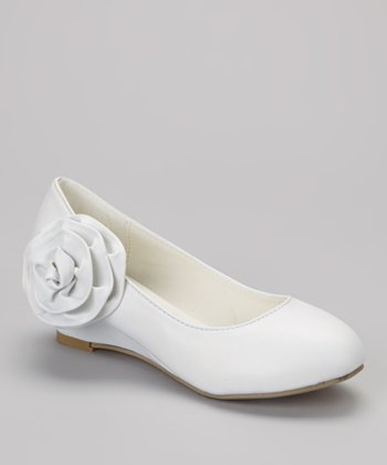 White Rosette Barby Wedge