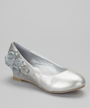 Silver Sequin Blossom Barby Wedge