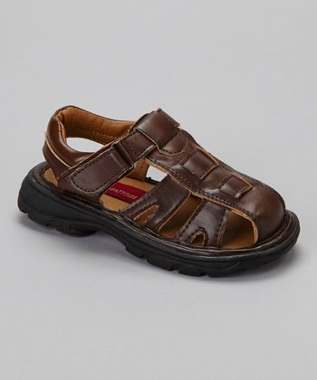 Brown Woven Closed-Toe Sandal