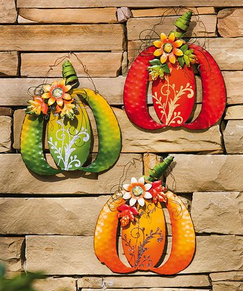 Glitzy Pumpkin Wall Décor Set