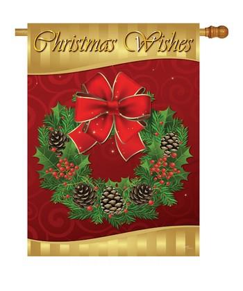 Two Group Flag Co. Christmas Wreath Flag