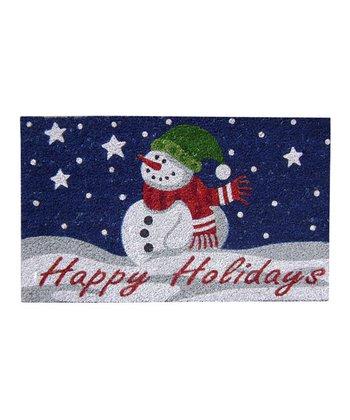 Blue 'Happy Holidays' Doormat