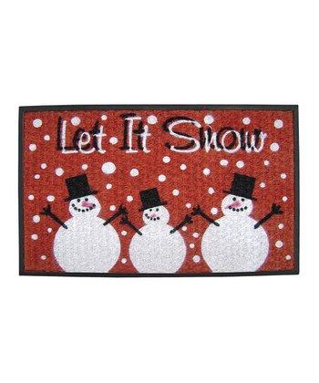Red 'Let It Snow' Doormat