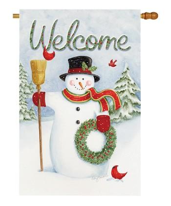 Two Group Flag Co. Snowman Wreath Flag