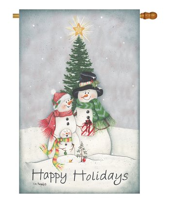 Two Group Flag Co. Snowman Family Flag