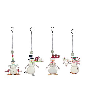 Holly Jolly Snowman Ornament Set