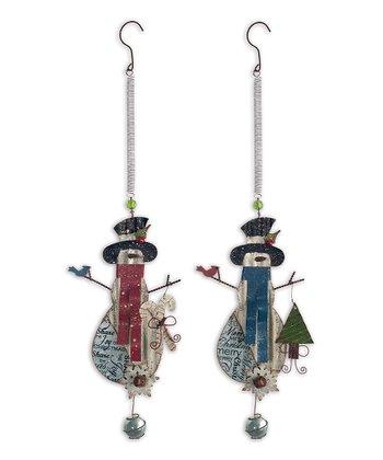 Corrugated Snowman Bouncy Ornament Set