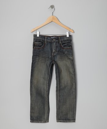 Off-Blue Brush Jeans - Toddler & Boys