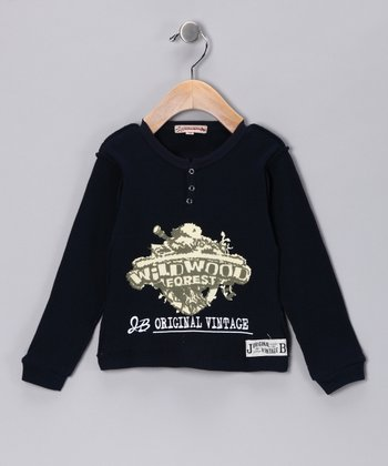 Navy 'Wild Wood' Henley - Infant, Toddler & Boys