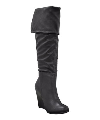 Black Untouchable Foldover Boot