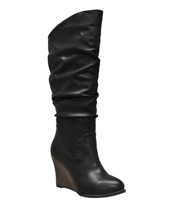 Black Meld Ruched Wedge Boot