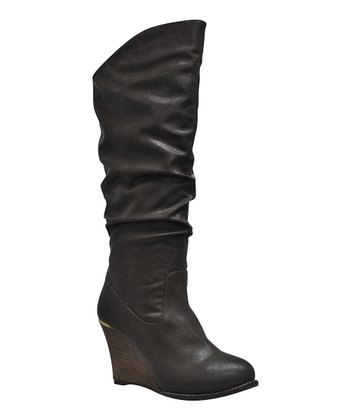 Brown Meld Ruched Wedge Boot
