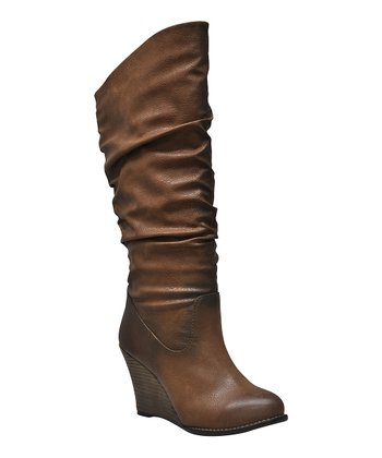 Tan Meld Ruched Wedge Boot