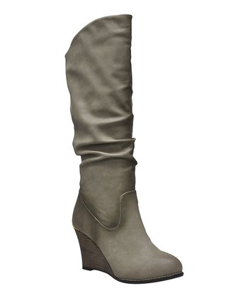 Taupe Meld Ruched Wedge Boot