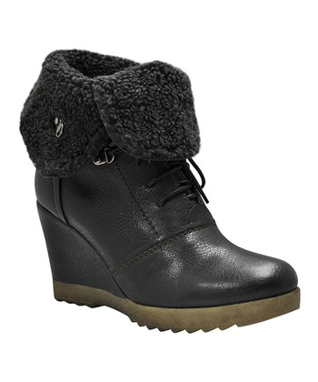 Black Woodsman Foldover Wedge Boot