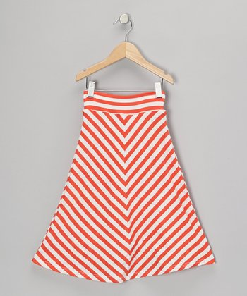 Bright Coral & White Chevron Maxi Skirt - Infant, Toddler & Girls