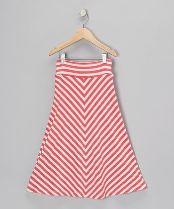 Strawberry & Off-White Chevron Skirt - Infant, Toddler & Girls