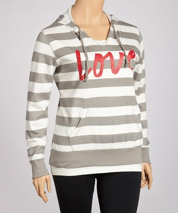 Heather Gray Fleece Stripe Hoodie - Plus